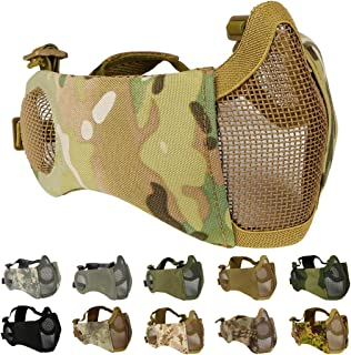 Foldable Airsoft Mesh Mask, Nylon Military Tactical Half Face Mesh Masks with Ear Cover Protection Adjustable CS Protective Lower Guardfor Mask CS Hunting Paintball Shooting