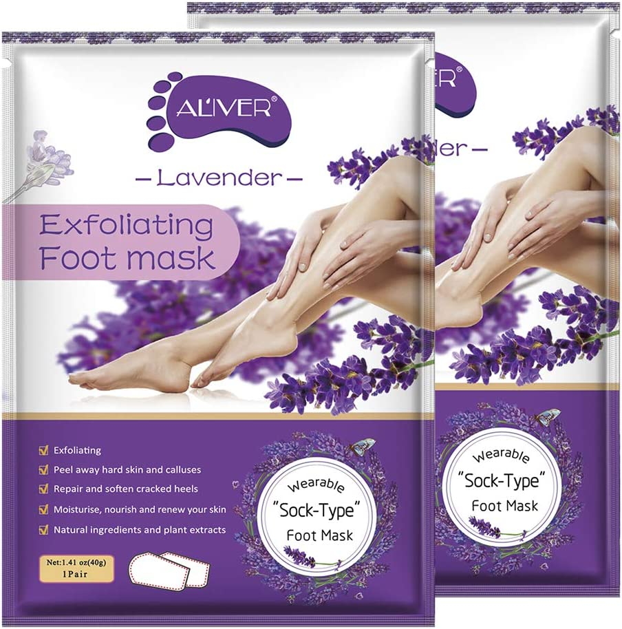 Exfoliating Foot Peel Mask, 2 Pairs Lavender Scented Peel Mask,
