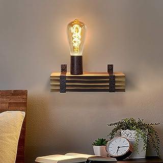 GBLY Aplique de pared vintage E27 aplique de madera retro 23CM punto de pared de diseño industrial con casquillo E27 máx. 60 vatios para pasillo, sala de estar, dormitorio, comedor, bar