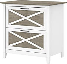 Bush Furniture Key West 2 Drawer Lateral File Cabinet, Pure White and Shiplap Gray