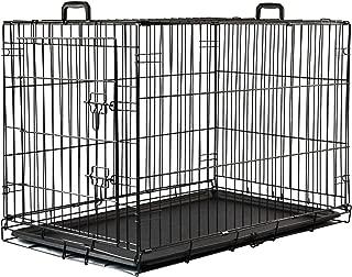 LEMKA ペットケージ 91x58x65cm 折り畳み式 树脂溶射 ワイヤーケージ キャット 中型犬用 ドッグ ハウス 休憩所 トレー付き(91x 58 x 65 cm, ブラック)