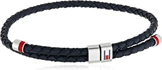 TOMMY HILFIGER MEN'S STAINLESS STEEL & NAVY LEATHER & RED CORD BRACELETS -2790225