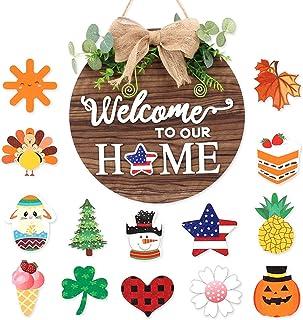 Door Hanger Seasonal Welcome Sign with Interchangeable Holiday Pieces for Front Door Porch Hanging Handmade for Housewarmi...