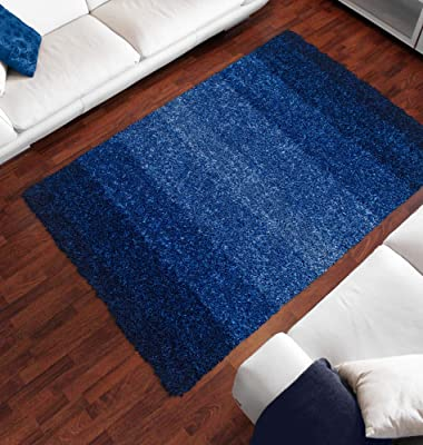 Berkley Temptations Shag Area Rug SM100CB Cobalt Striped Chromatic 5 x 7 6