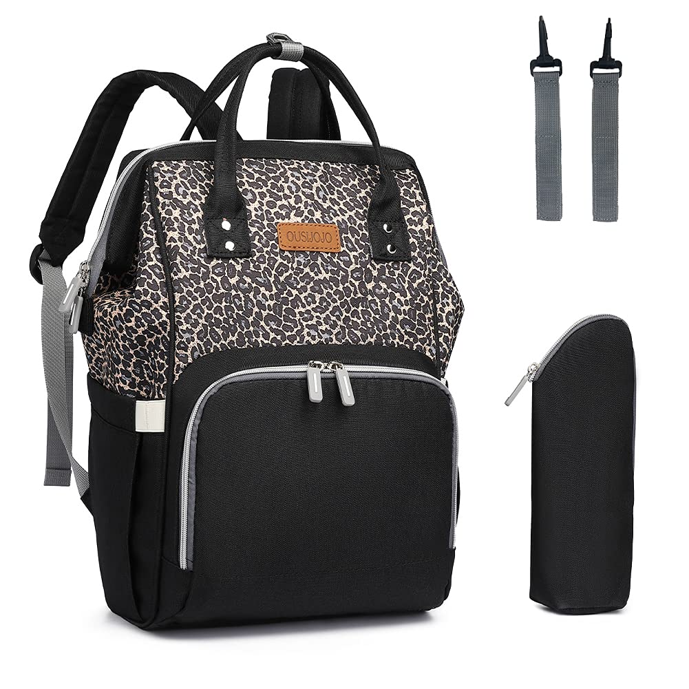 Diaper Bag Backpack,OUSIJOJO Stylish Large Capacity for Mom or Daddy (Leopard)