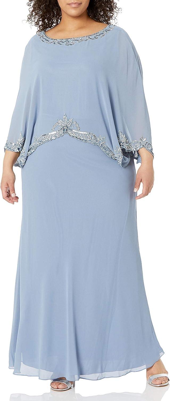 J Kara Women's Plus Size Beaded Trim Popover Gown