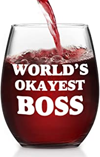 Boss Gifts, World's Okayest Boss Stemless Wine Glass for Men Women Male Female Boss Him Her Coworkers Bosses Day Christmas Holiday Birthday, Funny Office Gift for Bosses, 15 Oz