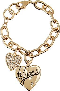 GUESS Two Heart Charm Bracelet