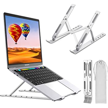 """Laptop Stand, Laptop Holder Riser Portable Adjustable Computer Tablet Stand, Aluminum Alloy Foldable Laptop Stand Compatible MacBook Air Pro, HP More 10-15.6"""" Laptops & Tablet(Silver)"""