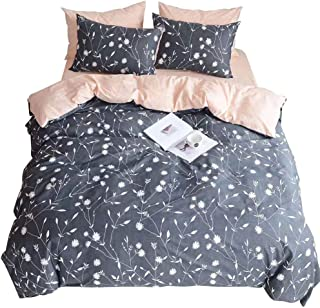HIGHBUY Lightweight Full Bedding Sets Queen Flower Branches Duvet Cover Set Peach Pink Grey Priemium Cotton Comforter Cover Set Kids 3 Pieces Queen Duvet Cover with 2 Pillowcases,Zipper Closure