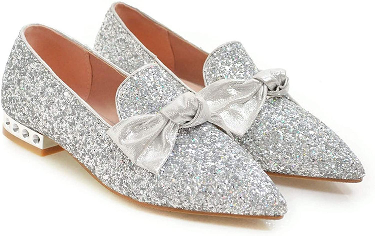 Rseobl Women Loafers shoes Spring Flats Bow Bling Flat Party shoes Glitter Pointed Toe shoes Female New Sliver Plus Size 34-43