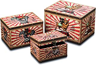 WHW Whole House Worlds Big Top Circus Animal Travel Trunks, Set of 3, Decorative Storage Boxes, Various Sizes, Faux Leather, Studs, Wood, Lined, Brass Hardware