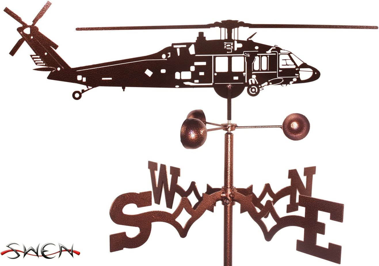 SWEN Products Hand Easy-to-use Made Black ~New~ Mail order Hawk Weathervane Helicopter