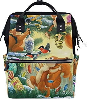 Laptop Backpack, Christmas Squirrel Bird Decoration Xmas Tree Diaper Bag Backpack Travel Backpack for Women and Men
