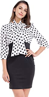AUQCO Women's Pencil Sheath Dress Patchwork Bodycon Dress with Sleeve