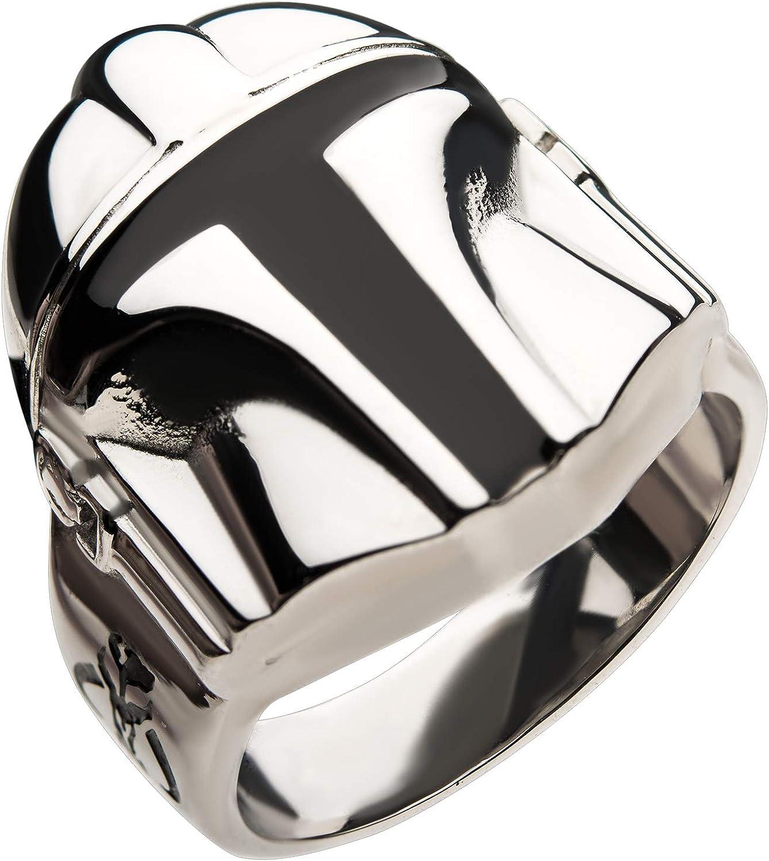 Star Wars Jewelry Men's Stainless Department store Helmet Max 49% OFF Ring Mandalorian Steel