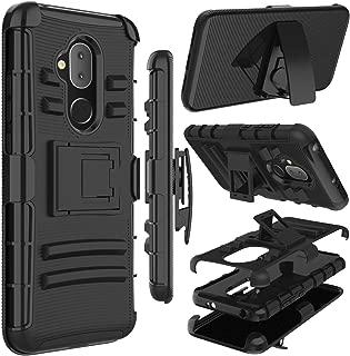Alcatel 7 Case, Alcatel Revvl 2 Plus Case, Alcatel 7 Folio Case, Zenic Heavy Duty Shockproof Full-Body Protective Hybrid Case Cover with Swivel Belt Clip and Kickstand for Alcatel 7 (Black)