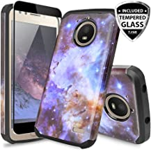 TJS for Motorola Moto E4 Case, [Full Coverage Tempered Glass Screen Protector] Dual Layer Hybrid Shockproof Drop Protection Impact Rugged Case Armor Cover Compatible Motorola Moto E4 (Stardust)