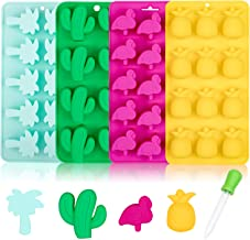 Whaline Hawaiian Silicone Chocolate Molds, Summer Tropical Candy Moulds with Droppers Molds, Ice Cube Tray Candy Mold for ...