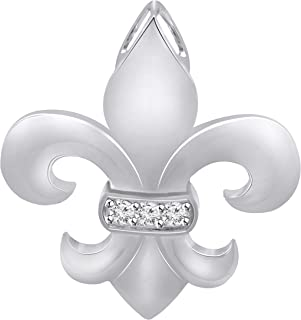 0.07 CT (Clarity I1-I2/Color I-J) Natural Diamond 14K White Gold Fn Fleur-De-Lis Pendant with 18 Inch Chain