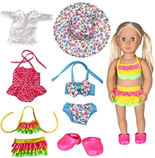 Tanosy 3 Sets Doll Bathing Suits Summer Bikini Swimsuits and 1 Pair Polliwog Doll Shoes Holiday Beach Party Swimwear Clothes for 18 inch Girl Doll Xmas Gift
