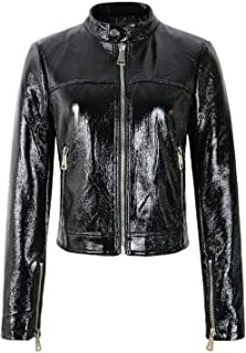 Women Shinning Pu Faux Patent Leather Jackets Long Sleeve Zippers Black Streetwear Motorcycle Coats Outerwear