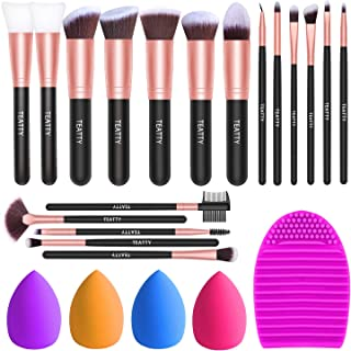 TEATTY Makeup Brushes 18 PCs Makeup Brush Set 2 PCS Silicone Face Mask Brush&4 Blender Sponge&1 Brush Cleaner Premium Synt...