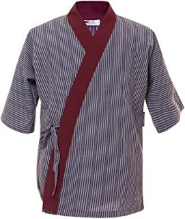 Sushi Chef Coat Japanese Restaurant Uniforms Blue red Or Brown Stripped Jacket