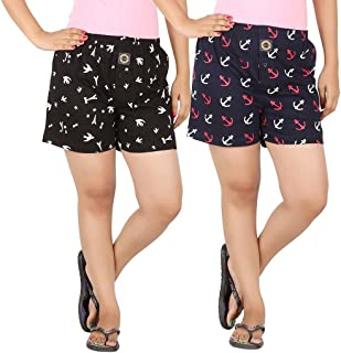 JOVEN Women's White and Navy Boxer Pack of 2