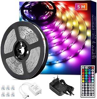 Lepro LED Strip 5M, LED Streifen Lichterkette mit Fernbedienung, 5050 SMD 150 LEDs Band Lichter, RGB Dimmbar Lichtleiste L...