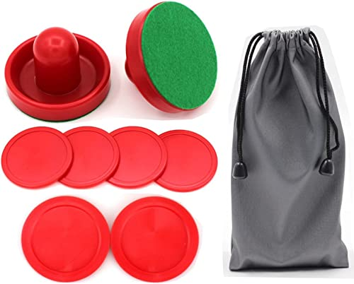 Qtimal Home Standard Air Hockey Paddles and 2 Size Pucks, Small Size for Kids, Large Size for Adult, Great Goal Handl...