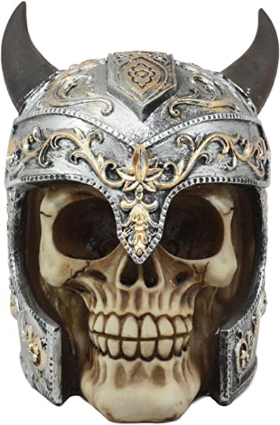 Ebros Viking Chieftain Warlord Odin Skull With Horned Helmet Statue Day Of The Dead Skeleton Figurine Norse Mythology Gothic Skull Statue