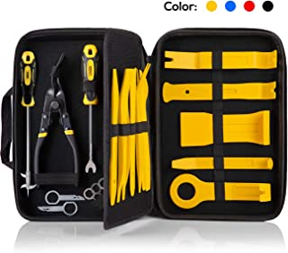 UTOOL 19PCS Trim Removal Tool for Auto Automotive Panel Trim with Organizer, Fastener and Clip Remover, Additional Radio Removal Keys and Tire Gap Thread Remover,Yellow