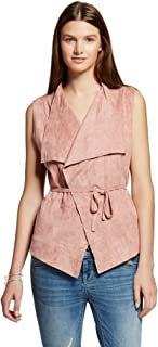 Romeo & Juliet Couture Women's Faux Suede Vest With Tie Back Detail