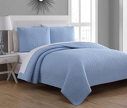 Estate Brand,  Tristan Cotton Quilt Bedding Set,  Powder Blue,  Full/Queen Size (58123)