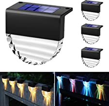 YGOCH Solar Deck Lights, 4 Pack Outdoor Waterproof Led Solar Step Lights, Warm White/Color Changing 2 Lighting Modes Solar...