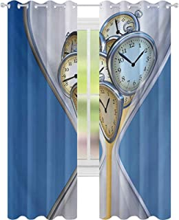Thermal Insulated Blackout Curtains, Hourglass Time Clocks with Sand Pattern for Home A Vintage Design Print, W52 x L108 D...