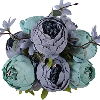 Luyue Vintage Artificial Peony Silk Flowers Bouquet Home Wedding Decoration (New Dark Blue)