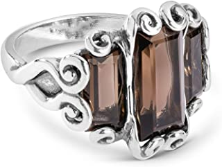 Sterling Silver Lemon or Smokey Quartz Gemstone Three Stone Ring Size 5 to 10