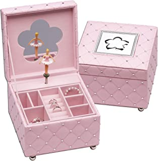 Girls Luxury Pink Music Jewelry Box with Ballerina and Little Girls Sterling Silver Heart Necklace