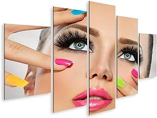 islandburner Cuadro en Lienzo Cara de Chica de Belleza con Esmalte de uñas de Colores, manicura y Maquillaje. Cuadros Modernos Decoracion Impresión Salon