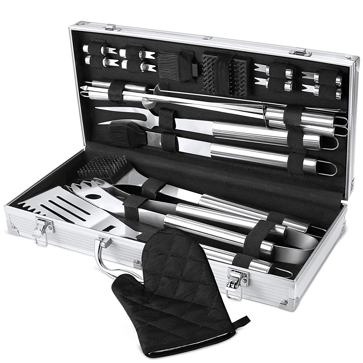 FYLINA BBQ Grill Tool Set, 21-Piece Heavy Duty Stainless Steel Grilling Utensils Tools with Aluminum Storage Case, Premium Grilling Accessories for Barbecue - Spatula, Tongs, Forks, and Basting Brush