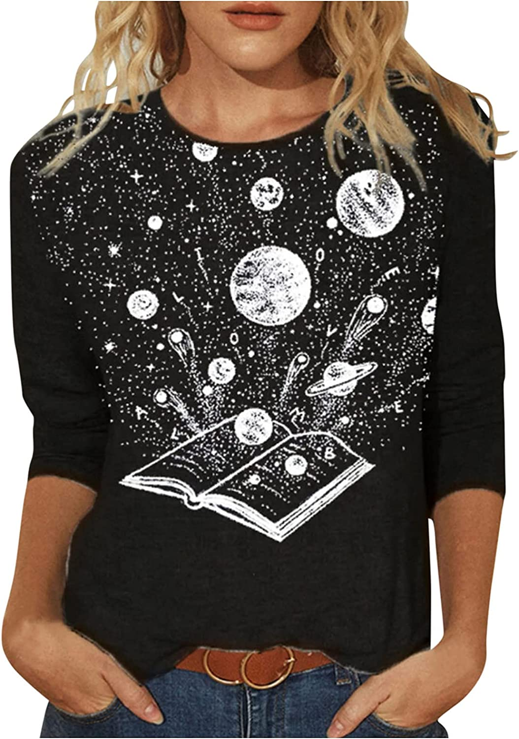 JSPOYOU Womens Long Sleeve T-Shirt Plus Size 3D Print Cute Funny Graphic Tees Casual Cotton Tee Tunic Tops