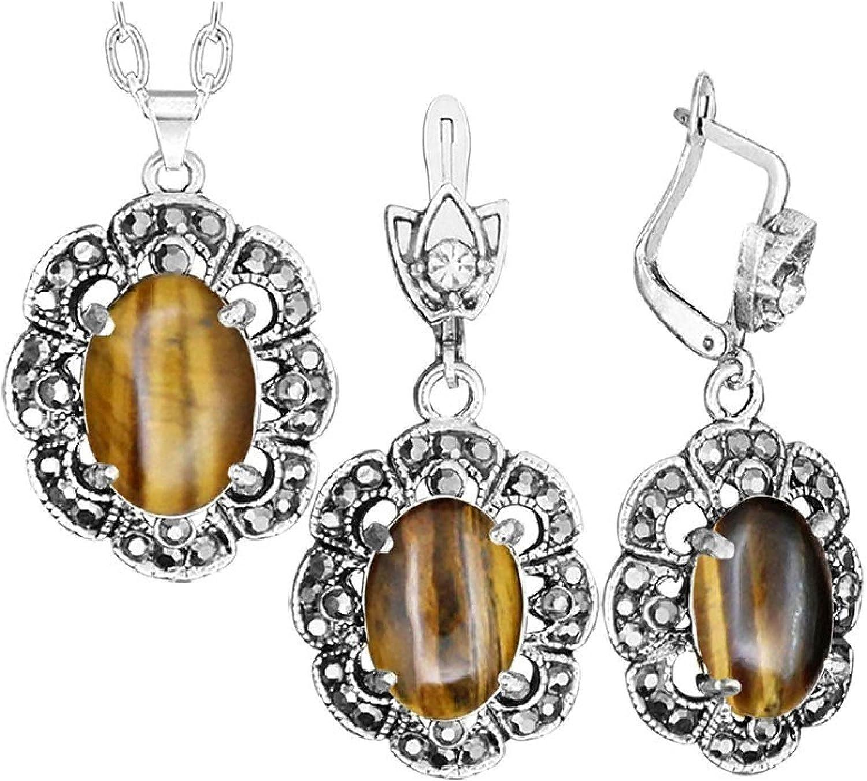 Plum Flower Pendant Tiger Eye Necklace Earrings Jewelry Set Rhinestone Vintage Fashion Jewelry For Women