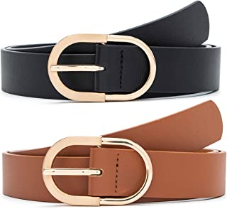 2 Pack Women's Leather Belts for Jeans Pants with Fashion Center Bar Buckle