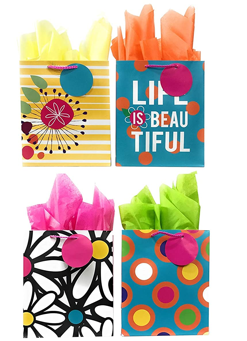 Life is Beautiful Gift Bags + Tissue Paper, 4 Medium Gift Bags + Tissue Paper, All Occasion