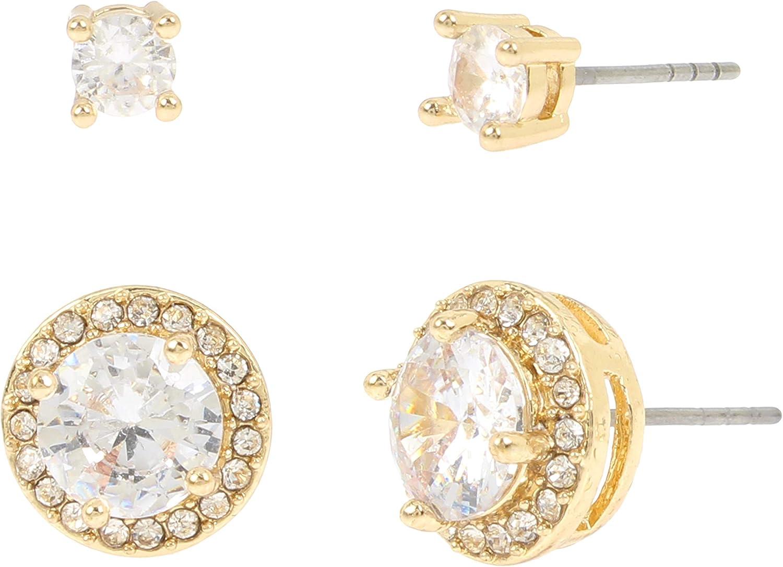 Jessica Simpson CZ Halo Stud Earrings Set