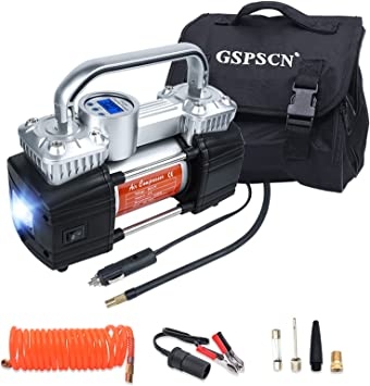 GSPSCN Portable Digital Car Tire Inflator with Gauge 150Psi Auto Shut-Off, Heavy Duty Double Cylinders 12V Air Compressor Pump with LED Light for Auto,Truck,Car,Bicycles,RV,SUV,Balls etc.: image