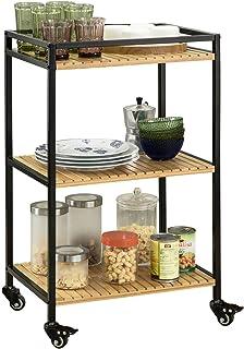 SoBuy 3-Tier Bamboo Kitchen Trolley with Metal Castors 47x78x33 cm