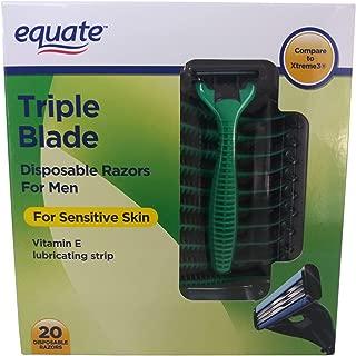 Equate Triple Blade Disposable Razors For Men (20 Razors)